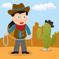 Wild west cowgirl with lasso a cartoon holding a a cactus in a desert landscape Stock Photography