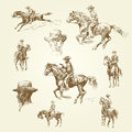 Wild west hand drawn illustration Stock Photos