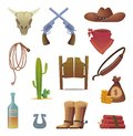 Wild west icon. Cowboys country western symbols saloon boots rodeo lasso vector cartoon collection