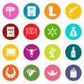 Wild west icons many colors set