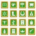 Wild west icons set green