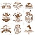 Wild west logos vector collection
