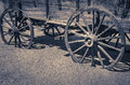 Wild west old wagon wooden wheels vintage in arizona Royalty Free Stock Image
