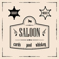 Wild west related illustrations saloon sign with sheriff stars illustration of two star badges all in decorative frame Royalty Free Stock Photo