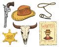 Wild west, rodeo show, cowboy or indians with lasso. hat and gun, cactus with horseshoe, sheriff star and bison, bull