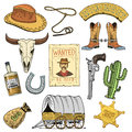 Wild west, rodeo show, cowboy or indians with lasso. hat and gun, cactus with sheriff star and bison, boot with
