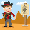 Wild west sheriff with handgun a cartoon cowboy holding a a wanted poster in a desert landscape Stock Photo