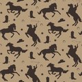 Wild west vector seamless pattern. Cowboy male background with horses, horseshoe, sheriff badge, boot, hat. Royalty Free Stock Photo