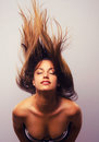 Wild woman throwing hair her long Royalty Free Stock Images