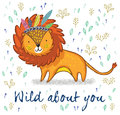 Wild about you. Cute lion cartoon vector illustration Royalty Free Stock Photo