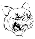 Wildcat mascot character a black and white illustration of a fierce animal or sports Stock Photo