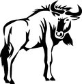 Wildebeest stylized black and white illustration Royalty Free Stock Photography