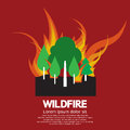 Wildfire disaster with burning forest tree vector illustration Stock Photography