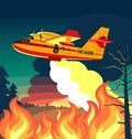 Wildfire firefighter plane or fire aircraft jet extinguish fire, poster or banner  illustration Royalty Free Stock Photo