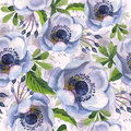 Wildflower anemone flower pattern in a watercolor style isolated
