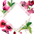 Wildflower orchid flower frame in a watercolor style.