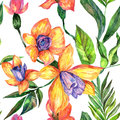 Wildflower orchid flower pattern in a watercolor style.
