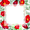 Wildflower peonies flower frame in a watercolor style.