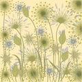 Wildflowers background pale blue beige art creative vector