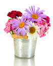 Wildflowers in bucket, Royalty Free Stock Photo