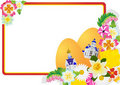 Wildflowers and Easter eggs. Royalty Free Stock Photography