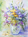 Wildflowers in vase, oil painting Royalty Free Stock Photo