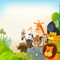 Wildlife animals background illustration of cute various cartoon wild from african savannah including lion gorilla elephant Stock Photography