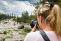 image photo : Wildlife photographer in yellowstone