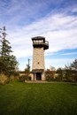 Wildlife viewing tower in a park and blue sky Stock Image
