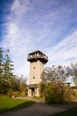 Wildlife viewing tower in a park and blue sky Stock Photo