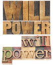 Will power in wood type words isolated text letterpress two layouts Stock Photo