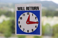 Will return sign with nature background Stock Photography