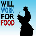 Will Work For Food Homeless Man Stock Photos