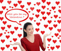 Will you be my valentine beautiful brunette girl asking the valentine question valentine day many red hearts background and bubble Royalty Free Stock Photos