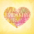 Will you be my valentine greeting card lettering with colorful heart and paper background vector illustration Stock Photo