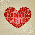 Will you be my valentine lettering greeting card with heart and paper background vector illustration Stock Images