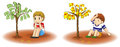 Will you grow an income or a debt tree two children is growing diversity and create by Royalty Free Stock Image