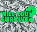 Will you survive question mark background endurance survival words on a of d marks asking if have what it takes to persevere Royalty Free Stock Photography