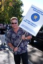 William petersen at the writers guild of america picket line in front of universal studios universal city ca Royalty Free Stock Image