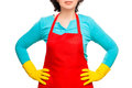 Willingness to cleaning house housewife in red apron and rubber gloves Royalty Free Stock Photography