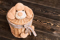 Willow basket with soft toy.
