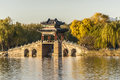 Willow bridge at xidi of summer palace in autumn beijing Royalty Free Stock Photos