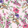 Willow, peach flower, bouquet, watercolor, pattern seamless