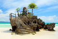 Willy's rock on the white beach of boracay island philippines situated famous is one most recognizable landmarks facing Stock Images