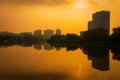 Wilmington at sunrise a photograph of a hazy summer over the city of delaware Royalty Free Stock Photos