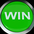 Win button shows success winner victory and champion showing Royalty Free Stock Photography