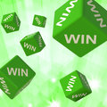 Win dice background shows triumph and victory Royalty Free Stock Photo