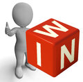 Win Dice Showing Success Winner And Victory Royalty Free Stock Photo