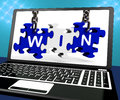 Win On Laptop Shows Online Gaming Champion Royalty Free Stock Photo