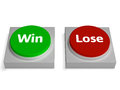 Win lose buttons show winning or losing showing Royalty Free Stock Images